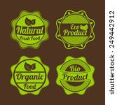 set of four badges of natural... | Shutterstock .eps vector #249442912