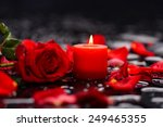 Stock photo valentines day background red rose with red candle 249465355