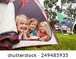 family enjoying camping holiday ... | Shutterstock . vector #249485935