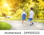 cute little boy and girl taking ... | Shutterstock . vector #249505222