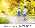 cute little boy and girl taking ... | Shutterstock . vector #249505222