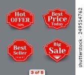 vector set of red sale retro...   Shutterstock .eps vector #249514762