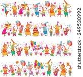 birthday cartoon border | Shutterstock .eps vector #249530992