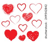 vector set of hand drawn hearts.... | Shutterstock .eps vector #249542842
