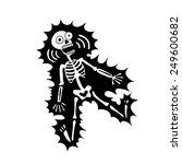 skeleton gets a shock. drawn by ...   Shutterstock .eps vector #249600682