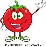 happy tomato cartoon mascot... | Shutterstock .eps vector #249601066