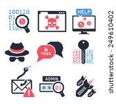 hacking icons set 02    colors | Shutterstock .eps vector #249610402