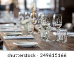 glasses  flowers  forks  knives ... | Shutterstock . vector #249615166