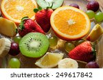 bowl with ice and juicy fruit | Shutterstock . vector #249617842