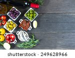 selection of spanish tapas with ... | Shutterstock . vector #249628966