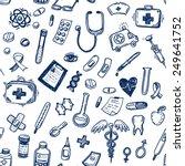 hand drawn seamless medicine... | Shutterstock .eps vector #249641752