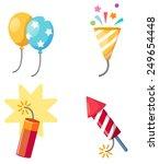 holiday set firecracker balloon ... | Shutterstock .eps vector #249654448