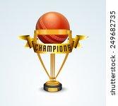 golden winning trophy with... | Shutterstock .eps vector #249682735