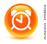 Alarm Clock Icon Glassy Orange...