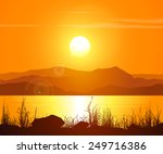 landscape with sunset at the...