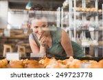 pretty brunette looking at... | Shutterstock . vector #249723778