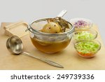 chicken broth vegetable soup | Shutterstock . vector #249739336
