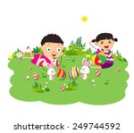 happy easter eggs with kids and ... | Shutterstock . vector #249744592