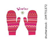 colored fashion winter mittens. ...   Shutterstock .eps vector #249751372