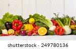 fruit and vegetable borders on... | Shutterstock . vector #249780136