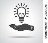 flat hand giving light lamp... | Shutterstock . vector #249820228