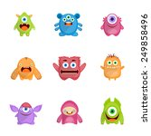 monsters characters set flat... | Shutterstock .eps vector #249858496
