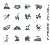 mining icons black set with... | Shutterstock .eps vector #249860572