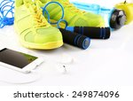 different tools for sport close ...   Shutterstock . vector #249874096