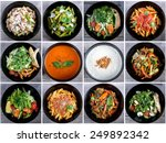 italian food collage with pasta ... | Shutterstock . vector #249892342
