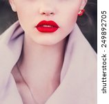 Girl With Red Lips. Photo In...