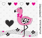 cute flamingo with hearts polka ... | Shutterstock .eps vector #249894982