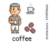 vector pixel art man and a mug... | Shutterstock .eps vector #249898666