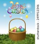 easter eggs in basket and... | Shutterstock .eps vector #249912346