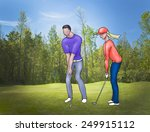 man and woman playing golf on... | Shutterstock . vector #249915112