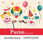 design for jewish holiday purim ...   Shutterstock .eps vector #249922345