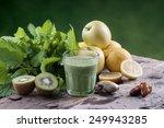 shake nettles with kiwi apples... | Shutterstock . vector #249943285