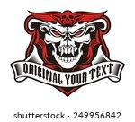 skull angry ribbon | Shutterstock .eps vector #249956842