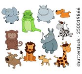 set of animals  painted by hand. | Shutterstock .eps vector #250019866