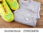 sport shoes and clothes on... | Shutterstock . vector #250026856