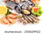fresh fish and other seafood... | Shutterstock . vector #250029922