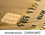 close up gold color credit card.... | Shutterstock . vector #250041892