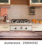 kitchen decoration. wooden... | Shutterstock . vector #250044532