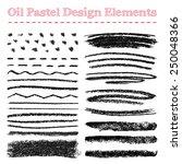 Set Of Oil Pastel Brush Stroke...