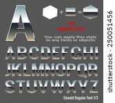 set of chrome letters and... | Shutterstock .eps vector #250051456