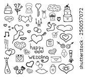 wedding set doodle cute | Shutterstock .eps vector #250057072