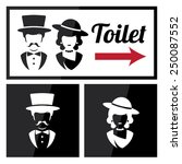 retro toilet and restroom sign   Shutterstock .eps vector #250087552