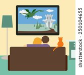 couple  couch  tv  cat. flat... | Shutterstock .eps vector #250104655
