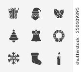 christmas silhouette icons... | Shutterstock . vector #250109395