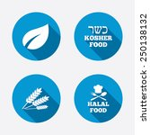 natural food icons. halal and... | Shutterstock .eps vector #250138132