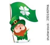leprechaun holding flag of... | Shutterstock .eps vector #250140946
